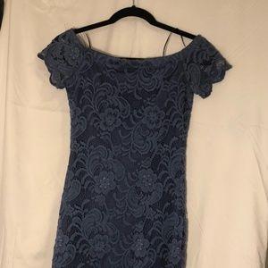 Off the shoulder blue lace dress